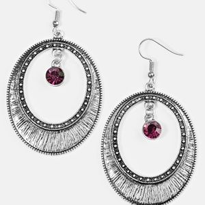 Madame Marvel Earrings- Purple and Silver